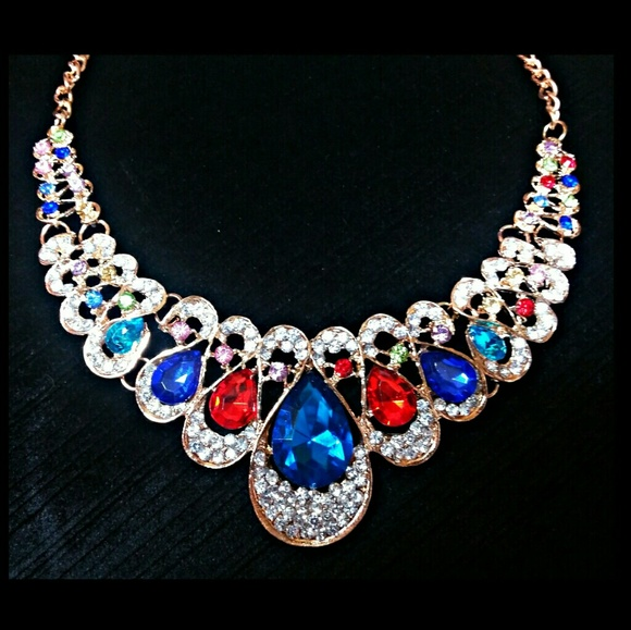 Jewelry - 3/$30 Faux Gem and Crystal Statement Necklace
